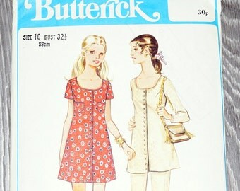 Tunique couture patron - Vintage des années 1960 Womens bouton devant tunique / Mini robe et pantalon taille du motif 10 de couture buste 32 Butterick 5591