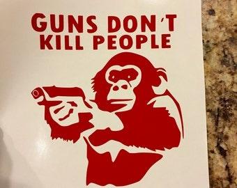 Angry Monkey Gun  Funny Vinyl Decal