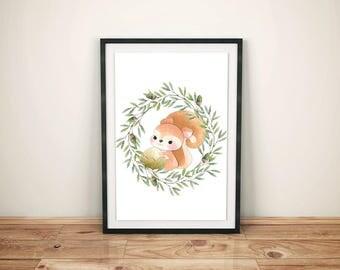 Woodland Squirrel Art-Squirrel Printed Art-Woodland Kids Art-Squirrel Print Art-Kids Woodland Print-Kids Woodland Art-Nursery Squirrel