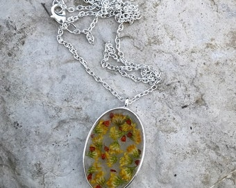 Yellow Goldenrod Pressed Flower Necklace