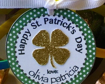 St. Patrick's Day Tag with Four Leaf Clover Set of 8