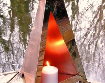 Copper & Stainless Steel Tri'Candle for Indoor or Outdoor use