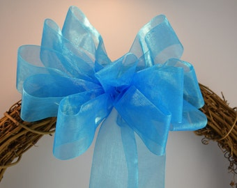 Aqua Organza Bow, Easter Bow, Shower Bow, Spring Bow, Basket Bow, Wreath Bow, Gift Bow, Organza Bow, Decorative Bow