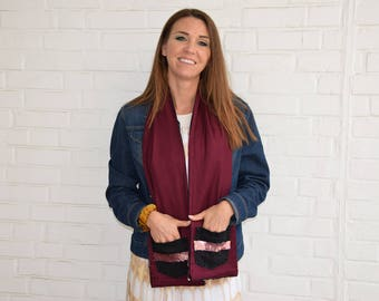 Go Big or Go Burgundy Pocket Scarf with Double Pockets, Black Denim, and Rose Gold Sequins