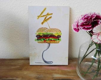 Art-Print, Druck, Kunstdruck, Illustration, decor, art, print, animal, cute, watercolour, stilwald, wall art poster, home, Burger, food, eat