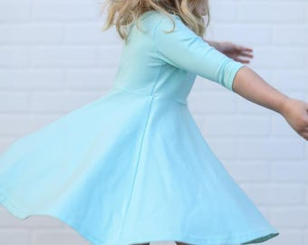 Twirl Dress in Aqua