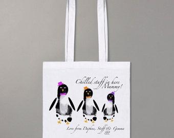 Footprint penguin shopper bag
