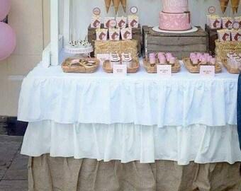 Rectangular Burlap Ruffled Tablecloth 3 Rows Of Colored Ruffle Tablecloth Wedding  Tablecloth 72