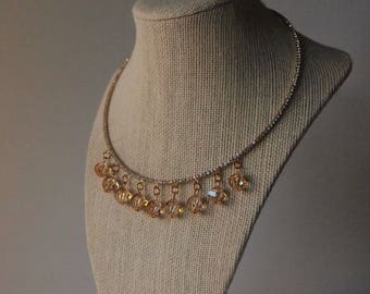 Choker-like Necklace with Swarovski Crystal Golden Shadow and Matching Earrings