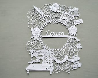 Sewing Handcut Personalised Papercut Gift / Art , Paper cut, craft, stitching, sewing machine, thread, tape measure