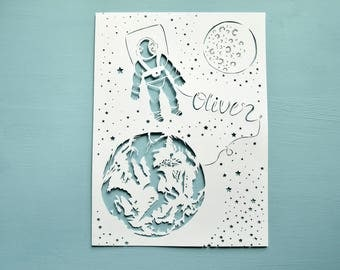 Space / Astronaut  Handcut Personalised Papercut, Child's Bedroom, Boy, Birthday Gift, Present, Star, Earth, Handmade, Paper cut, Art