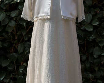 Ivory satin and sparkle sequin chiffon gown,jacket,bonnet and shoes.