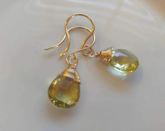 Lemon quartz earrings, yellow gold  drop earrings. Handmade customizable earrings,