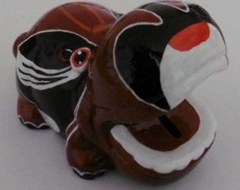 Hand painted money bank - Kabuki Hippo