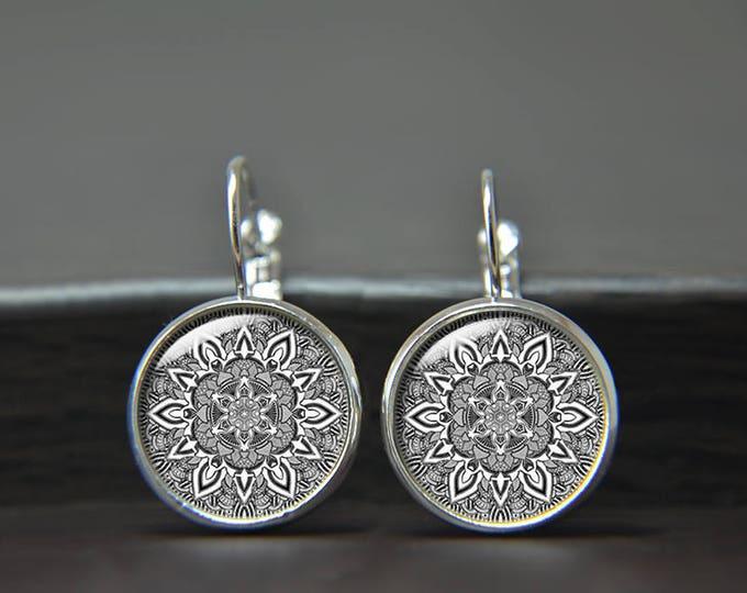 Mandala Earrings, Grey and White, Boho Earrings, Yoga Gift, Trending Bohemian Stud, Colorful Jewelry, Cabochon Jewelry, Spiritual Gift Hindu