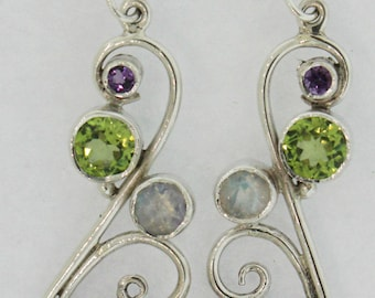 Elegant and Genuine Sterling Silver 92.5 Earrings with Labradorite