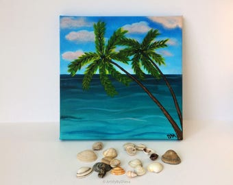 """Seascape Original Acrylic Painting Palm Tree Painting on Canvas 20x20 cm (8""""x8"""") Small painting Mother's day/Birthday Gift Idea Home decor"""