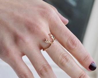 Antler Ring - Dainty Antler Ring - Antler Jewelry - Deer Ring - Silver Antler Ring - Gold Ring - Anniversary Ring - Ring - Mother's Day Gift