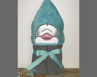 Dolphin Embroidered Hooded Towel, Bath Towel, Beach Towel, Ready to Ship!