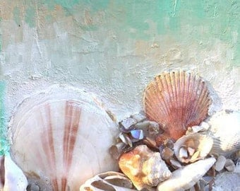 """Original Mixed Media Art """"Shore Gems"""" A collective Sculptural Relief of natural shells and oil paint depicting the beauty of oceanlife"""