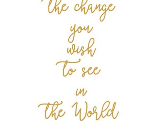 Gandhi Quote Be The Change You Want To See In The World Art Print A 4 yoga meditation vegan