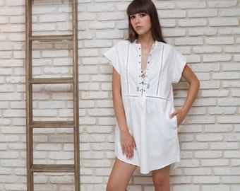 White Oversize Caftan Dress, Bohemian Kaftan Loose Dress, Short Kaftan Dress, White mini Dress, White Tunic Dress, Women's White Caftan