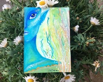 "WATERCOLOUR / / ""Blue Mermaid"" 14, 8cm X 10, 5cm / / ORIGINAL"