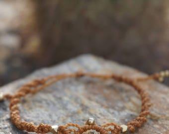 Macrame bracelets with brass pendant