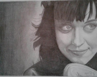 graphite portrait of Katy Perry 9x12 by M. Martin