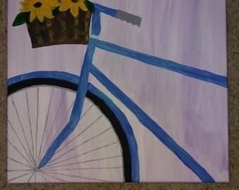 18x18 bike basket with flowers