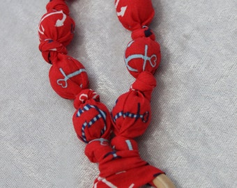 Anchor teething/nursing necklace - nursing necklace- teething necklace- Wooden ring necklace- cotton teether- mom jewelry
