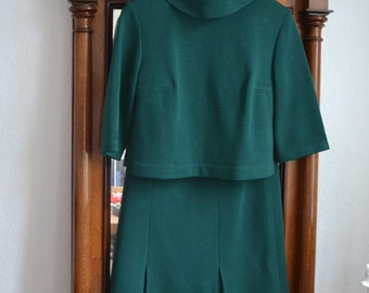Emerald Green Wool Vintage Two Piece Suit Size 10