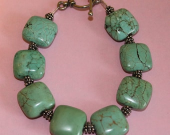 Light Green Square Turquoise Bracelet with Bali Silver Accents