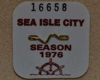 """1976 Canvas Print 14""""x14"""" Sea Isle City Beach Tag"""