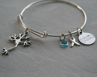 Rhinestone Bangle Charm Bracelet in Support of Parkinson's Disease