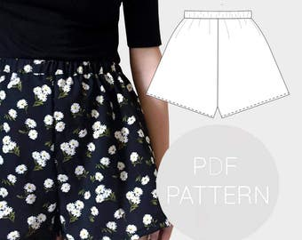 Womens high waisted shorts pdf printable sewing pattern. Elasticated waist. UK sizes 4-18, US sizes 0-14.