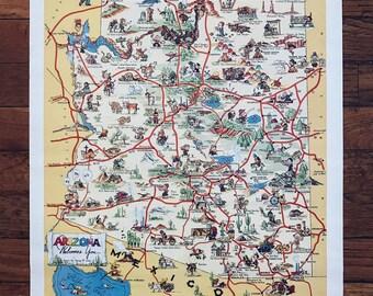 George M. Avey Map 1940 - Arizona Highways - Cartoon Poster Reprint 1986