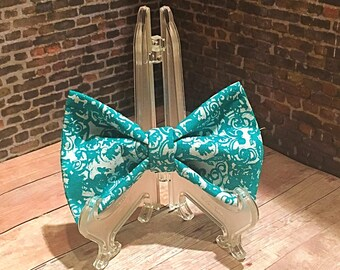Blue and White Paisley Bow