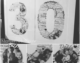 Birthday Milestone, Age, Wordart, Words, Frame, Extra Large, A4, Shaped, Number, Twenty One, Thirty, Forty, Fifty, Sixty, Special Gift, Gift