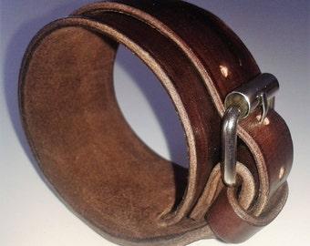 Leather Bracelet, Buckle Bracelet, Cuff Bracelet, Double Wrap Leather Bracelet, Rock 'n' Roll Chic, Punk Cuff