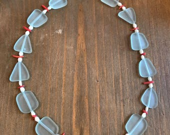 Blue sea-glass with coral and pearl necklace