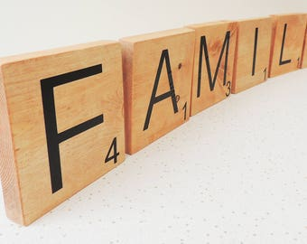 large wooden letters, word game tiles, wooden letter tiles, freestanding letters, gallery wall decor, family wall, wall hangings, letters