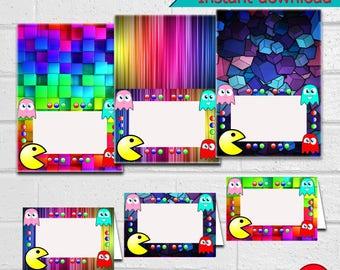 Pacman Food Tents, Pacman Food Tents, Pacman Food Cards, Pacman Food Cards, Pacman Food Labels - Instant download