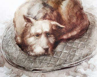 Original watercolor animal, original watercolor dog, dog art, Home decoration, dog watercolor original, Watercolor custom pet portrait