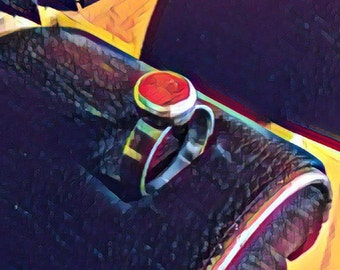 Red Jasper and Sterling Silver Band