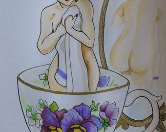 Assam teacup with pin-up girl