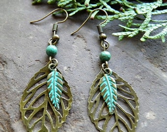 Boho, Vintage,Antique Brass/Bronze Leaf Dangles,Howlite Turquoise Green Bead,Brass Turquoise Feather,E019,*FREE SHIPPING