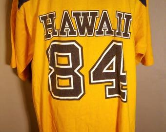 80s Crazy Shirts Hawaii 84 Yellow Blue LARGE T-Shirt Jersey Retro 1984 Surf Surfer Skate Beach West Coast Pacific Ocean