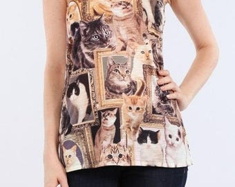 Cat Collage print Graphic Singlet Tank top