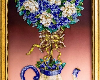Bead-embroidered picture Blue Topiary tree of happiness flowers in teapot decor gift  elegant interior design decoration